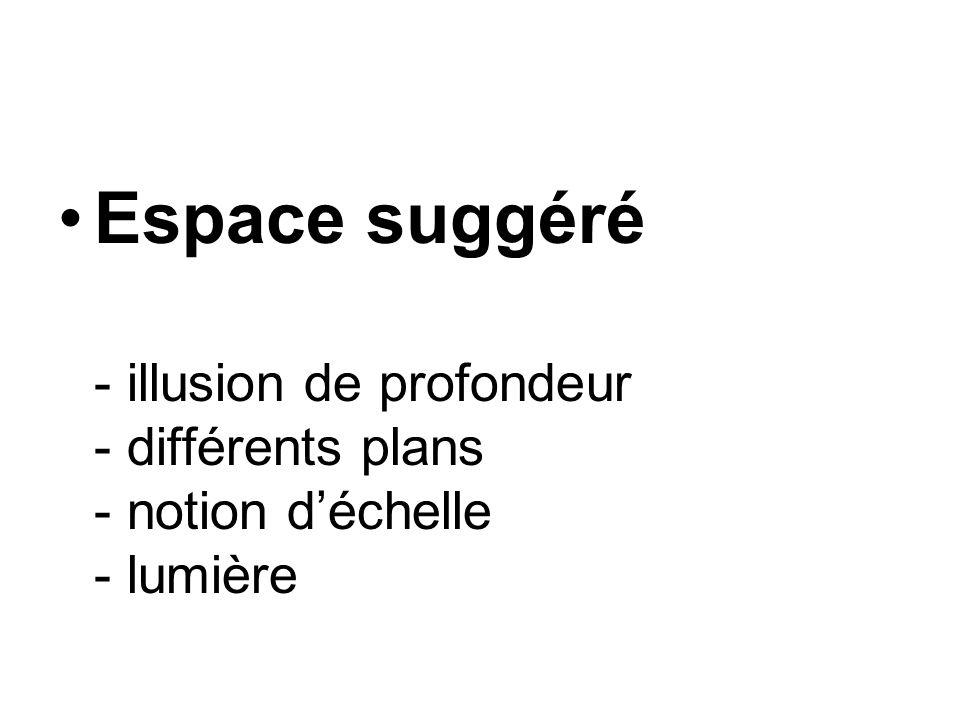 Espace suggéré - illusion de profondeur - différents plans - notion déchelle - lumière