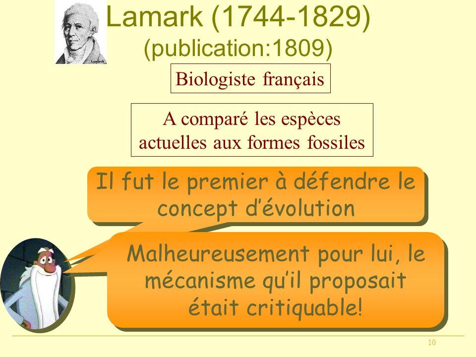 10 Lamark (1744-1829) (publication:1809) Biologiste français A comparé les espèces actuelles aux formes fossiles Il fut le premier à défendre le conce