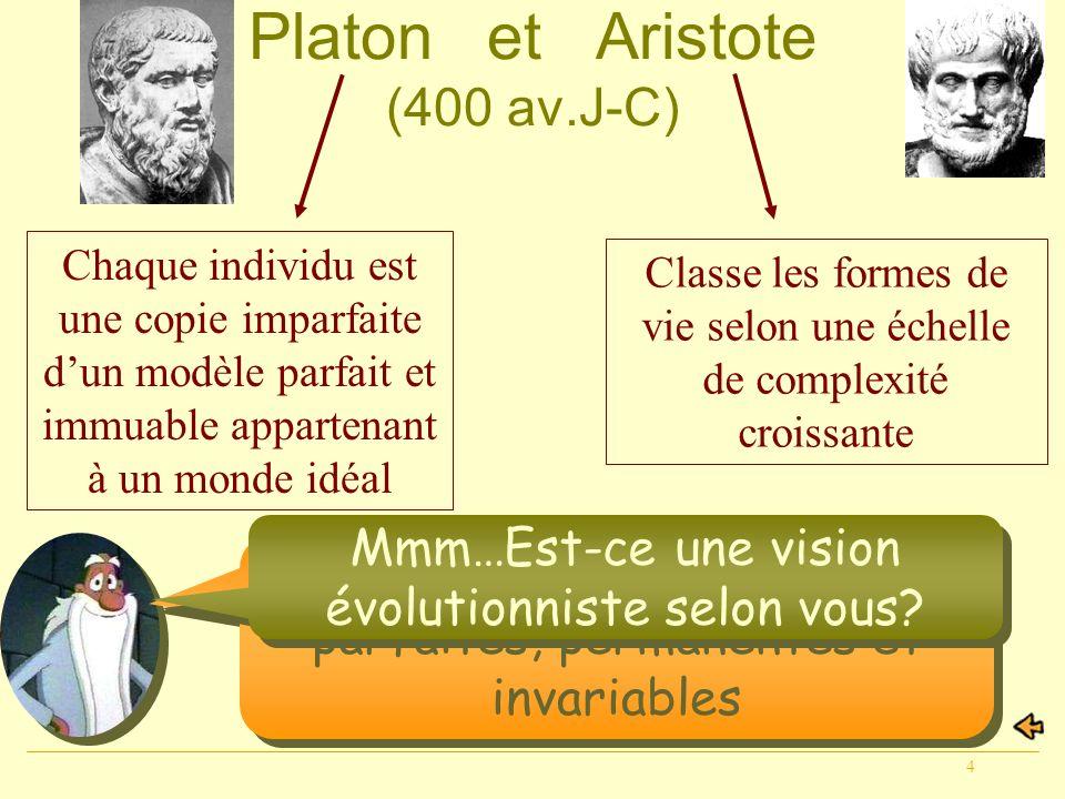 4 Platon et Aristote (400 av.J-C) Non, les espèces sont parfaites, permanentes et invariables Chaque individu est une copie imparfaite dun modèle parf