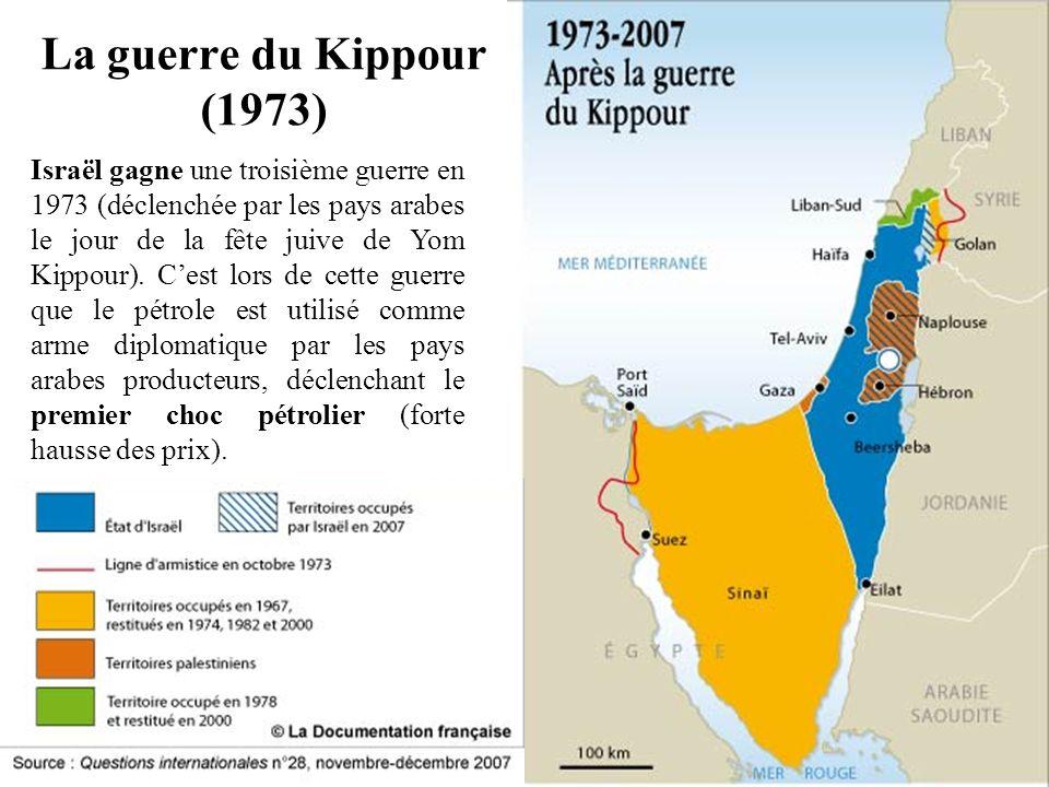La guerre du Kippour (1973) Israël gagne une troisième guerre en 1973 (déclenchée par les pays arabes le jour de la fête juive de Yom Kippour). Cest l