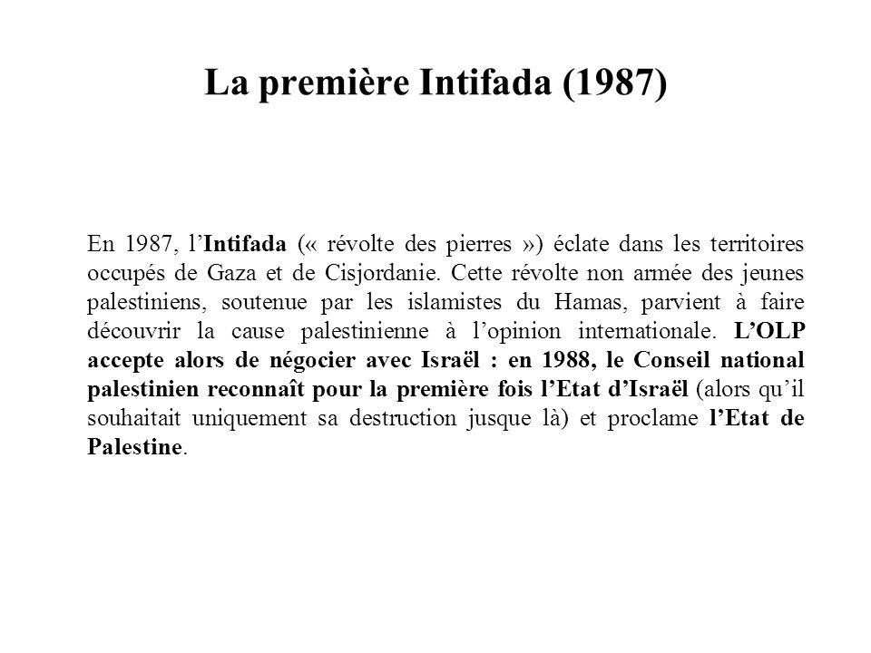 En 1987, lIntifada (« révolte des pierres ») éclate dans les territoires occupés de Gaza et de Cisjordanie. Cette révolte non armée des jeunes palesti
