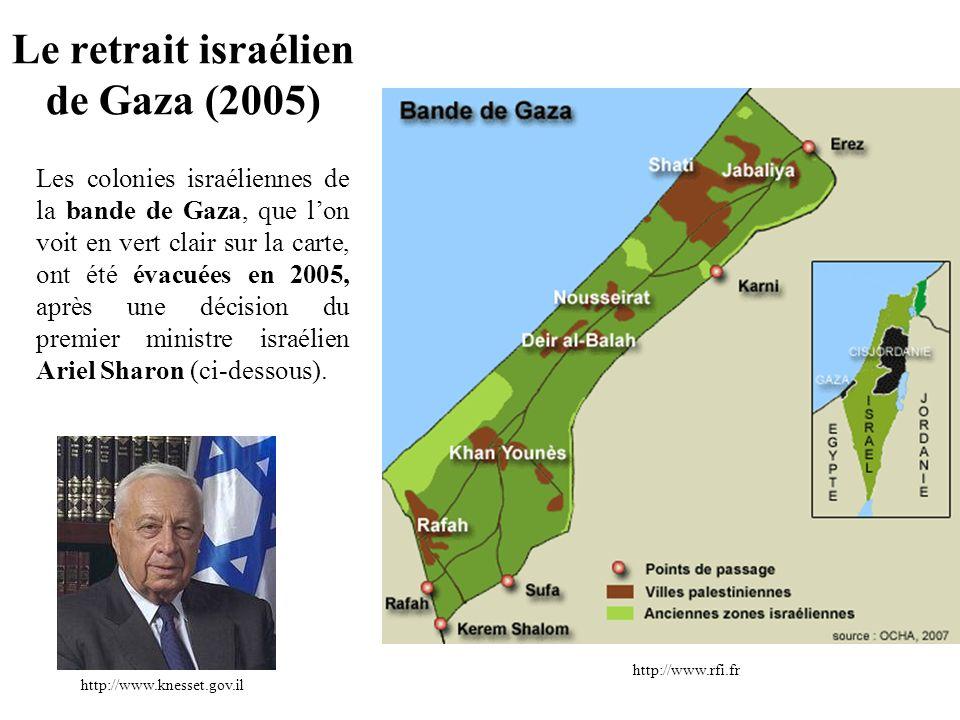 Les colonies israéliennes de la bande de Gaza, que lon voit en vert clair sur la carte, ont été évacuées en 2005, après une décision du premier minist
