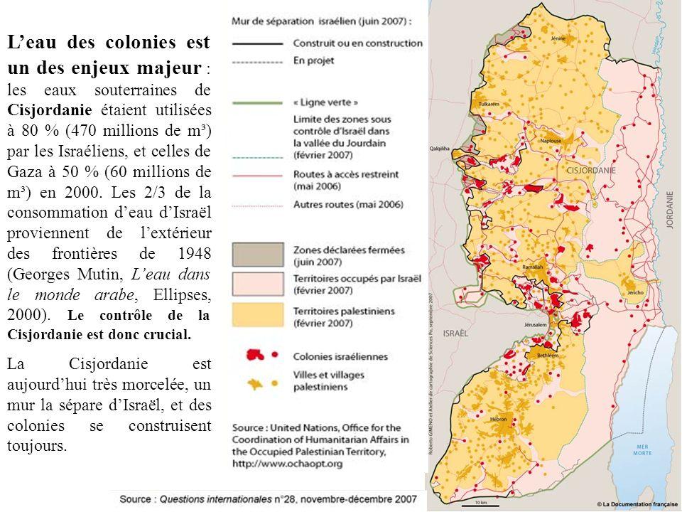 Leau des colonies est un des enjeux majeur : les eaux souterraines de Cisjordanie étaient utilisées à 80 % (470 millions de m³) par les Israéliens, et