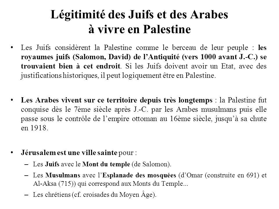 Légitimité des Juifs et des Arabes à vivre en Palestine Les Juifs considèrent la Palestine comme le berceau de leur peuple : les royaumes juifs (Salom