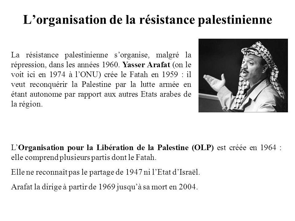 Lorganisation de la résistance palestinienne La résistance palestinienne sorganise, malgré la répression, dans les années 1960. Yasser Arafat (on le v