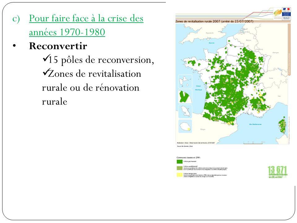 c)Pour faire face à la crise des années 1970-1980 Reconvertir 15 pôles de reconversion, Zones de revitalisation rurale ou de rénovation rurale