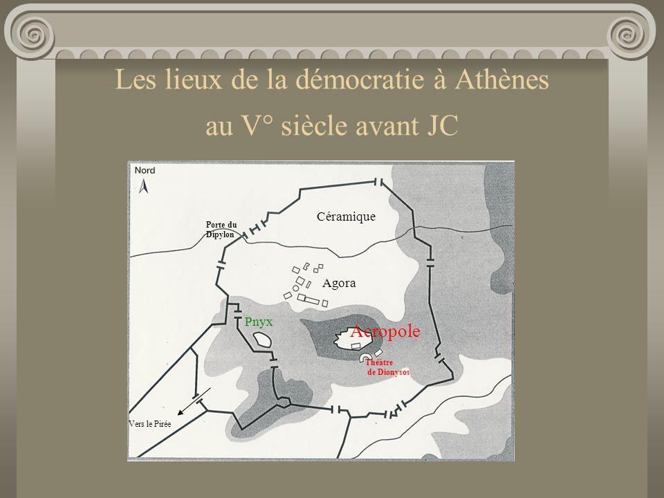 Les lieux de la démocratie à Athènes au V° siècle avant JC Porte du Dipylon Agora Acropole Pnyx Céramique Vers le Pirée Théâtre de Dionysos