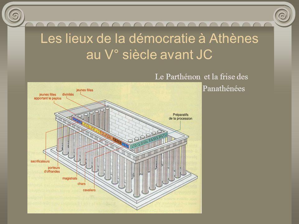 Les lieux de la démocratie à Athènes au V° siècle avant JC Le Parthénon et la frise des Panathénées Acropole