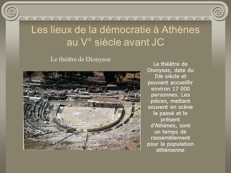 Les lieux de la démocratie à Athènes au V° siècle avant JC Le théâtre de Dionysos Acropole Le théâtre de Dionysos, date du IVe siècle et pouvant accue