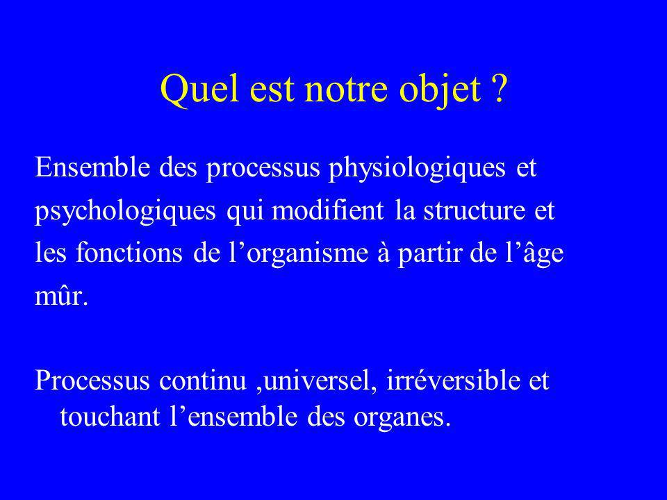 Quel est notre objet ? Ensemble des processus physiologiques et psychologiques qui modifient la structure et les fonctions de lorganisme à partir de l