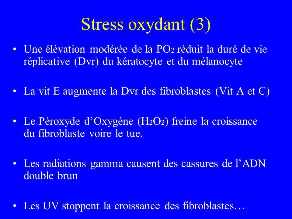 Stress oxydant (3) Une élévation modérée de la PO 2 réduit la duré de vie réplicative (Dvr) du kératocyte et du mélanocyte La vit E augmente la Dvr de