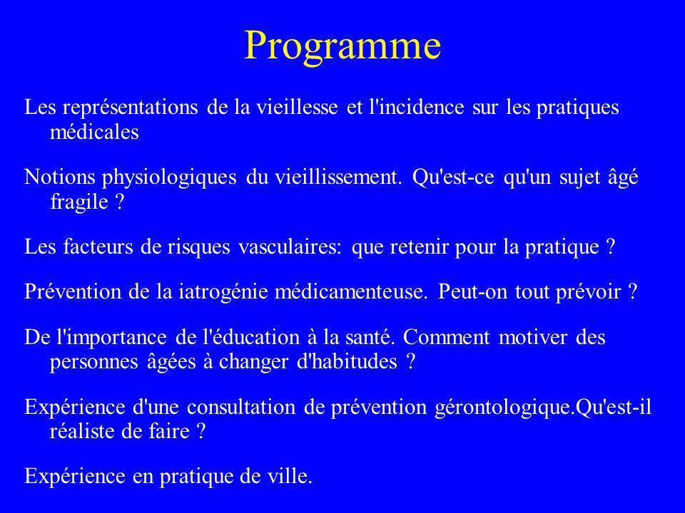 Programme Les représentations de la vieillesse et l'incidence sur les pratiques médicales Notions physiologiques du vieillissement. Qu'est-ce qu'un su