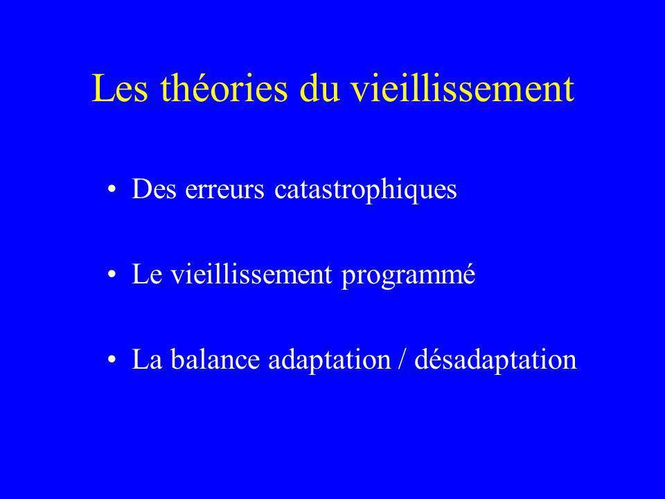 Les théories du vieillissement Des erreurs catastrophiques Le vieillissement programmé La balance adaptation / désadaptation