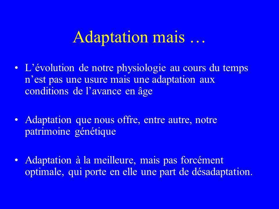 Adaptation mais … Lévolution de notre physiologie au cours du temps nest pas une usure mais une adaptation aux conditions de lavance en âge Adaptation