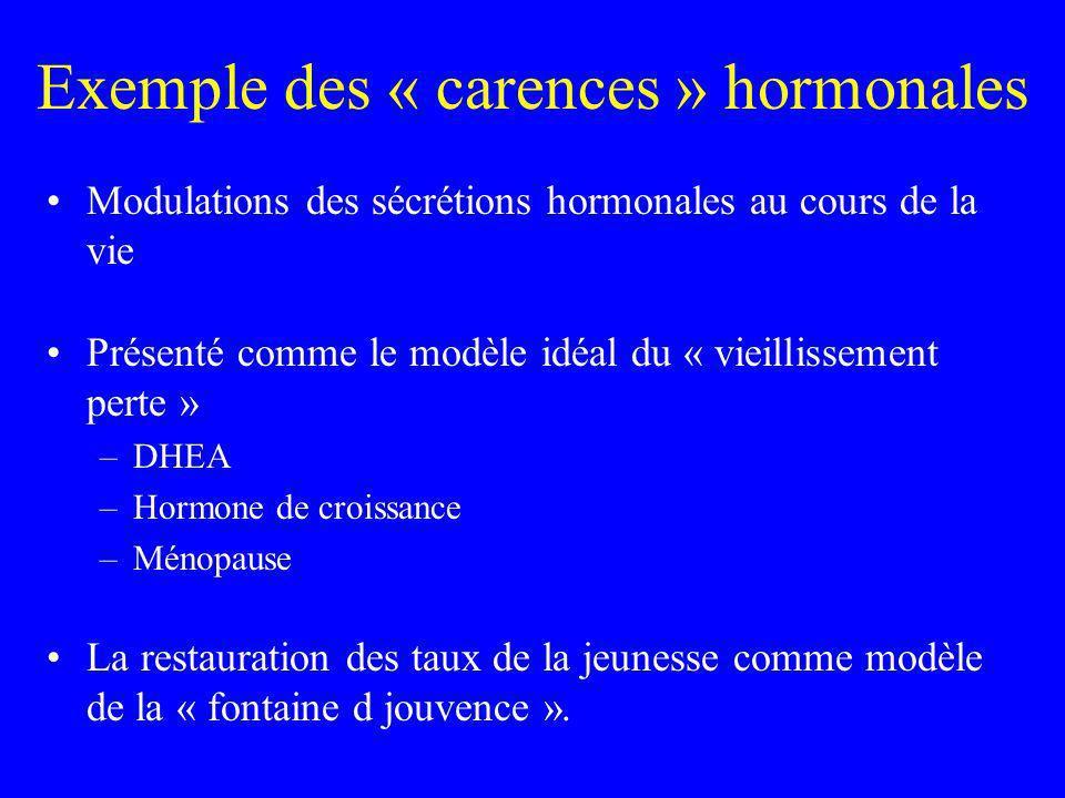 Exemple des « carences » hormonales Modulations des sécrétions hormonales au cours de la vie Présenté comme le modèle idéal du « vieillissement perte