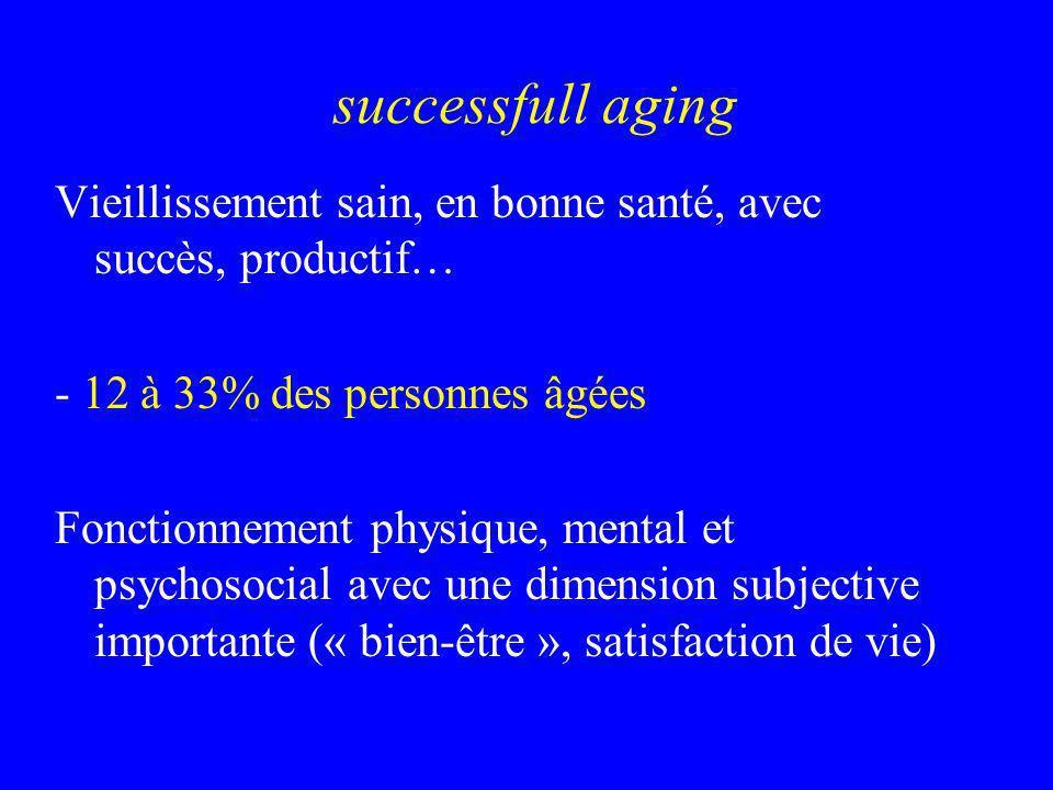 successfull aging Vieillissement sain, en bonne santé, avec succès, productif… - 12 à 33% des personnes âgées Fonctionnement physique, mental et psych