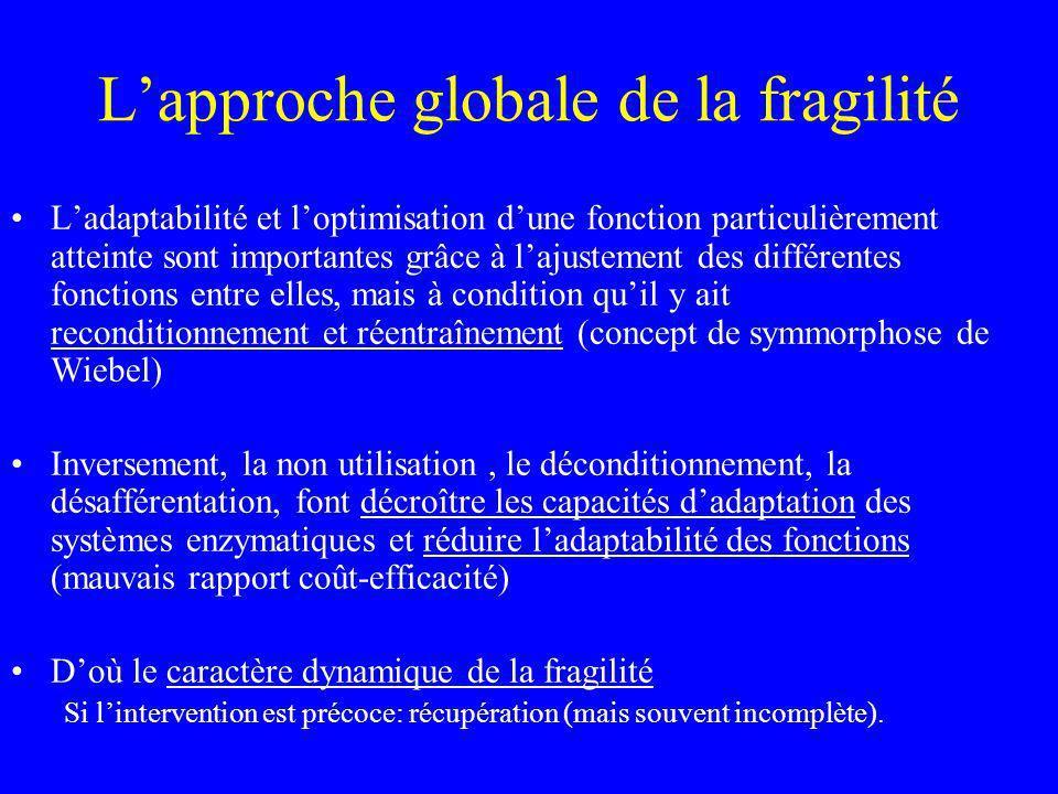 Lapproche globale de la fragilité Ladaptabilité et loptimisation dune fonction particulièrement atteinte sont importantes grâce à lajustement des diff