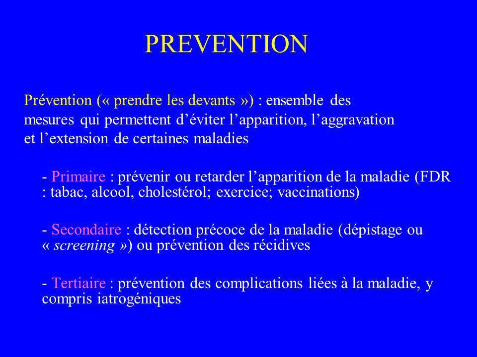 PREVENTION Prévention (« prendre les devants ») : ensemble des mesures qui permettent déviter lapparition, laggravation et lextension de certaines mal
