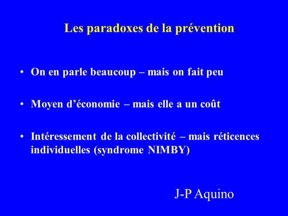 Les paradoxes de la prévention On en parle beaucoup – mais on fait peu Moyen déconomie – mais elle a un coût Intéressement de la collectivité – mais r