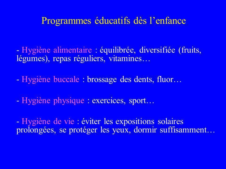 Programmes éducatifs dès lenfance - Hygiène alimentaire : équilibrée, diversifiée (fruits, légumes), repas réguliers, vitamines… - Hygiène buccale : b