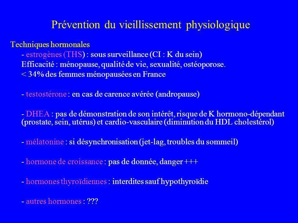 Prévention du vieillissement physiologique Techniques hormonales - estrogènes (THS) : sous surveillance (CI : K du sein) Efficacité : ménopause, quali