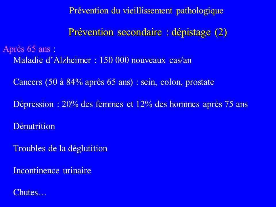 Prévention du vieillissement pathologique Après 65 ans : Maladie dAlzheimer : 150 000 nouveaux cas/an Cancers (50 à 84% après 65 ans) : sein, colon, p