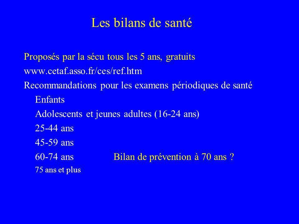 Les bilans de santé Proposés par la sécu tous les 5 ans, gratuits www.cetaf.asso.fr/ces/ref.htm Recommandations pour les examens périodiques de santé