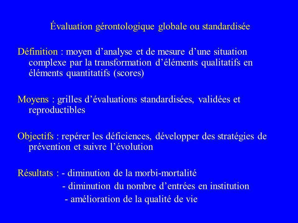 Évaluation gérontologique globale ou standardisée Définition : moyen danalyse et de mesure dune situation complexe par la transformation déléments qua