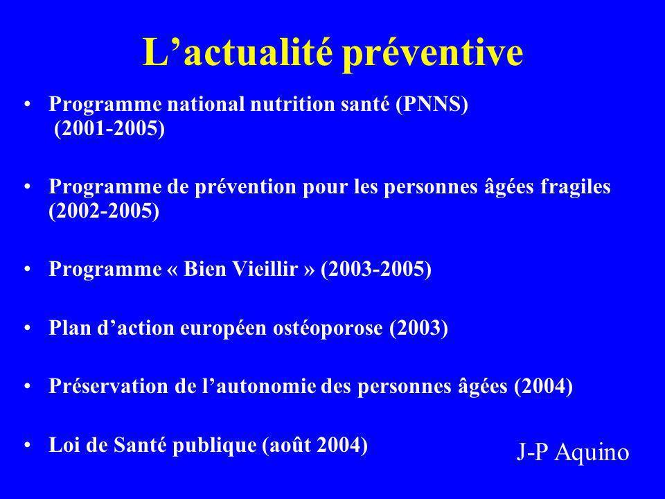 Lactualité préventive Programme national nutrition santé (PNNS) (2001-2005) Programme de prévention pour les personnes âgées fragiles (2002-2005) Prog