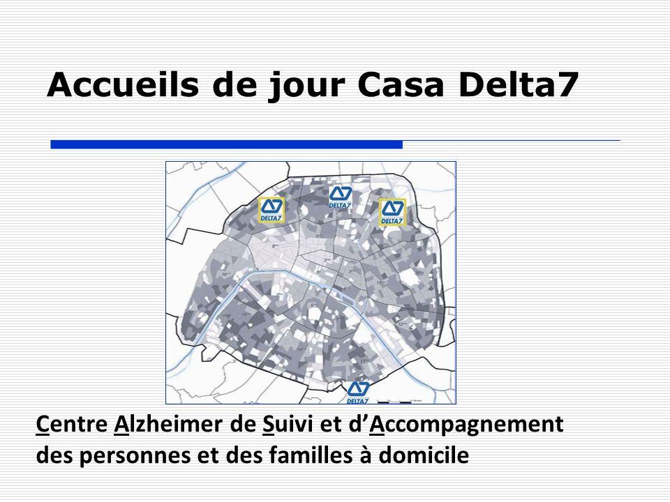 Accueils de jour Casa Delta7 EtablissementParis 18Paris 19Villejuif Nombre de places251620 Catégorie de bénéficiairesGIR 2 - 3 - 4 - 5 Jours d ouvertureLundi au Vendredi Heures douverture9h – 18h
