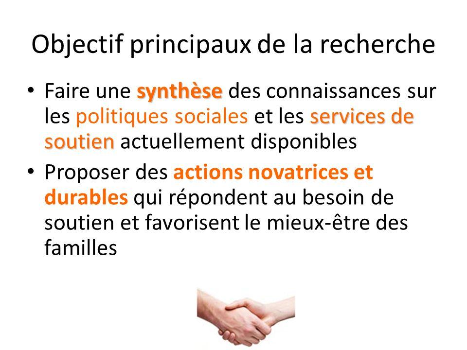 Objectif principaux de la recherche synthèse services de soutien Faire une synthèse des connaissances sur les politiques sociales et les services de s