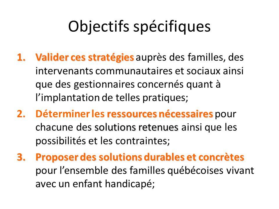 Objectifs spécifiques 1.Valider ces stratégies 1.Valider ces stratégies auprès des familles, des intervenants communautaires et sociaux ainsi que des
