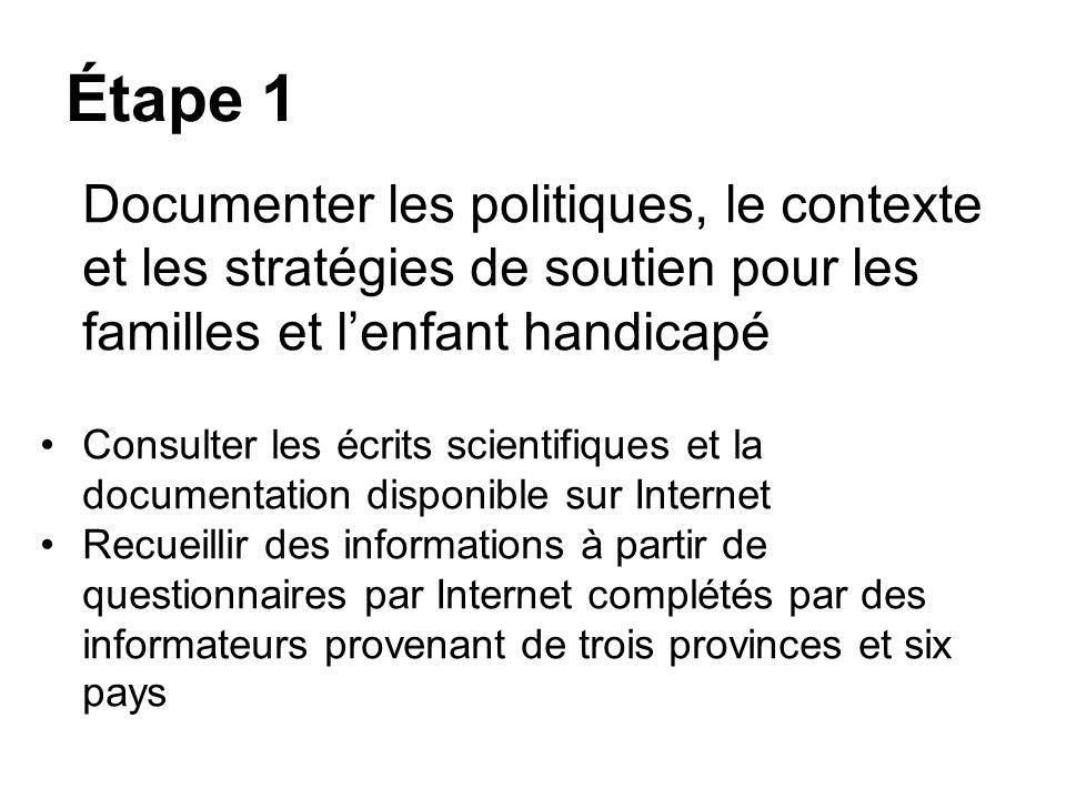 Étape 1 Documenter les politiques, le contexte et les stratégies de soutien pour les familles et lenfant handicapé Consulter les écrits scientifiques