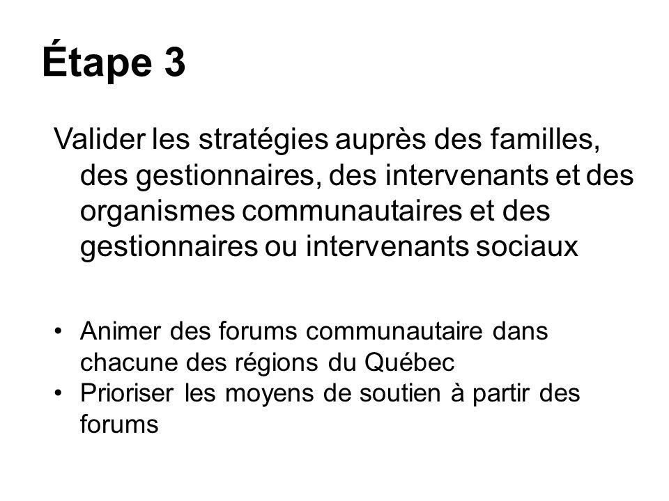 Étape 3 Valider les stratégies auprès des familles, des gestionnaires, des intervenants et des organismes communautaires et des gestionnaires ou inter