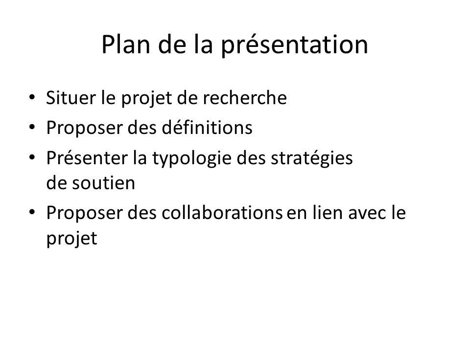Plan de la présentation Situer le projet de recherche Proposer des définitions Présenter la typologie des stratégies de soutien Proposer des collabora