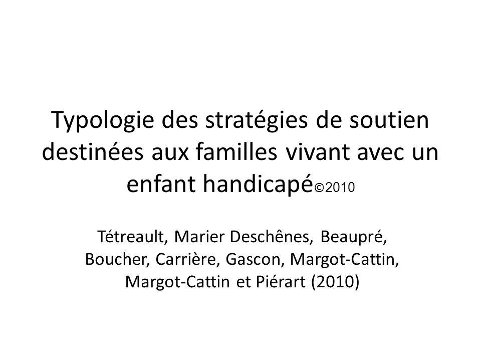 Typologie des stratégies de soutien destinées aux familles vivant avec un enfant handicapé © 2010 Tétreault, Marier Deschênes, Beaupré, Boucher, Carri
