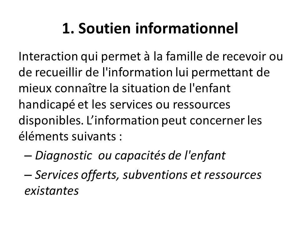 1. Soutien informationnel Interaction qui permet à la famille de recevoir ou de recueillir de l'information lui permettant de mieux connaître la situa