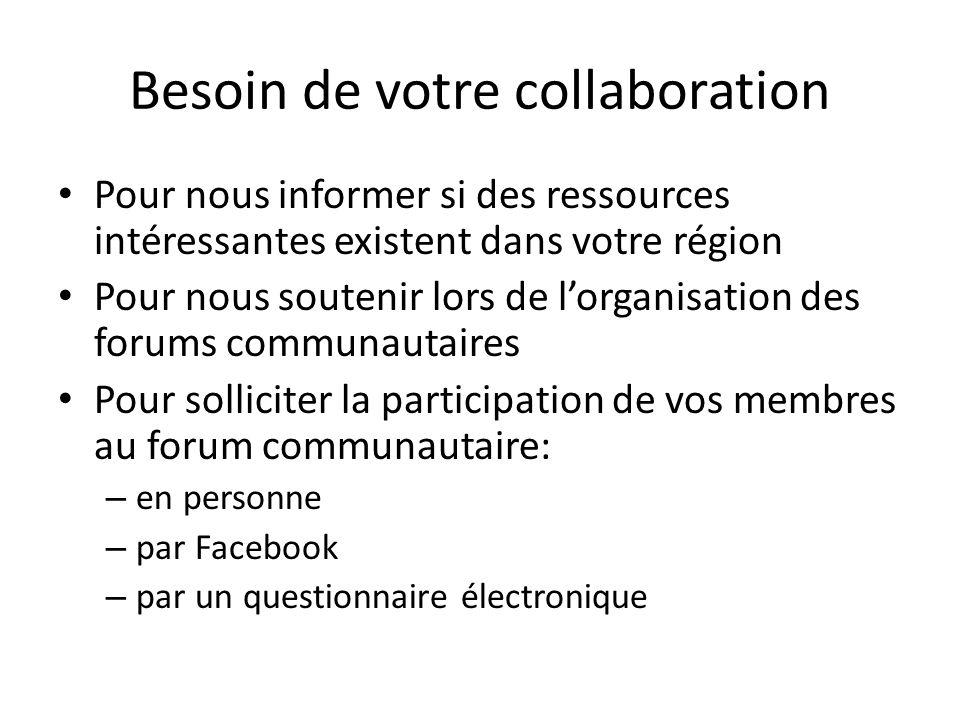 Besoin de votre collaboration Pour nous informer si des ressources intéressantes existent dans votre région Pour nous soutenir lors de lorganisation d