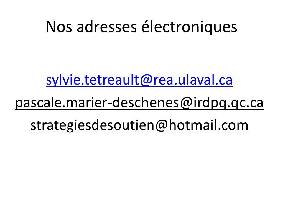 Nos adresses électroniques sylvie.tetreault@rea.ulaval.ca pascale.marier-deschenes@irdpq.qc.ca strategiesdesoutien@hotmail.com