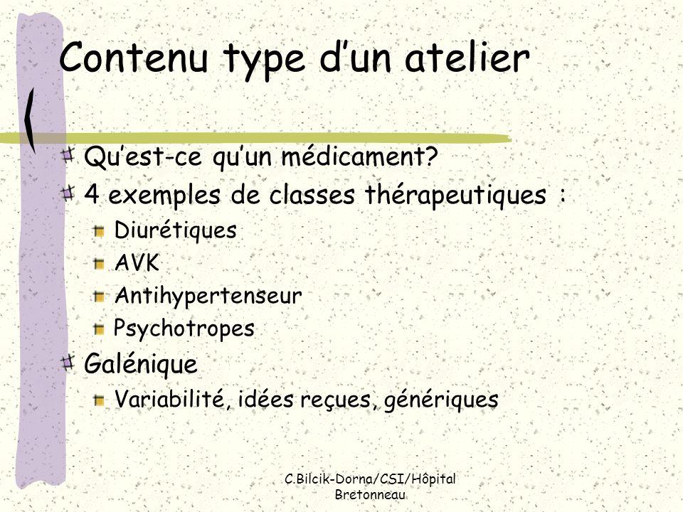 C.Bilcik-Dorna/CSI/Hôpital Bretonneau Contenu type dun atelier Quest-ce quun médicament? 4 exemples de classes thérapeutiques : Diurétiques AVK Antihy