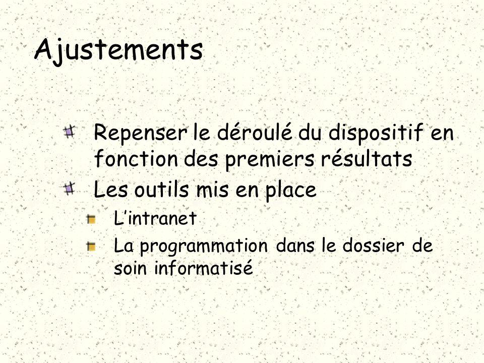 Ajustements Repenser le déroulé du dispositif en fonction des premiers résultats Les outils mis en place Lintranet La programmation dans le dossier de