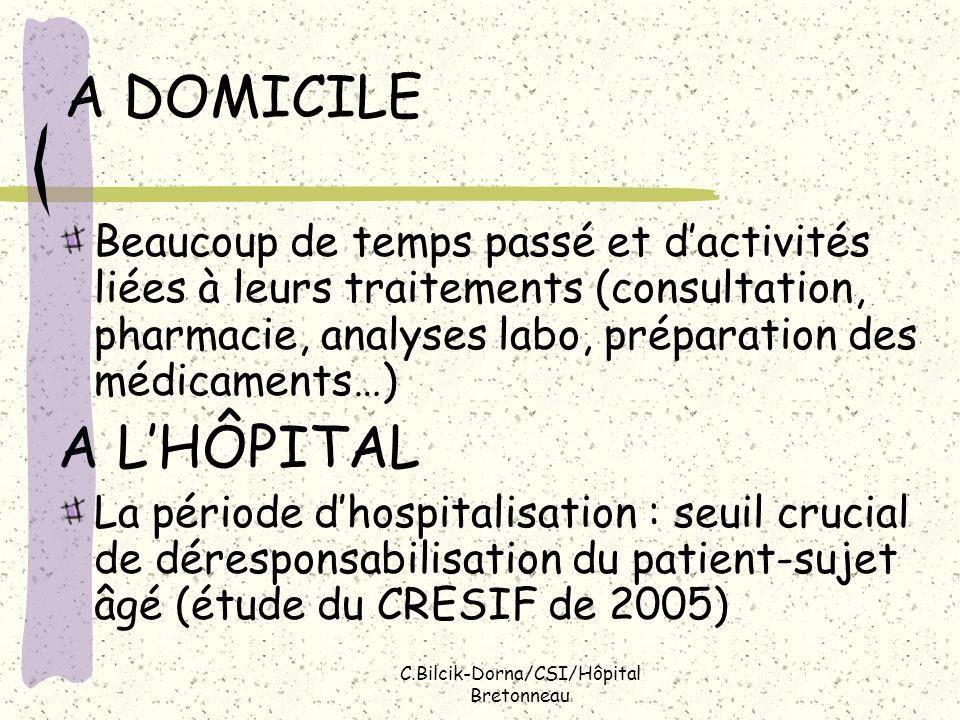 C.Bilcik-Dorna/CSI/Hôpital Bretonneau A DOMICILE Beaucoup de temps passé et dactivités liées à leurs traitements (consultation, pharmacie, analyses la