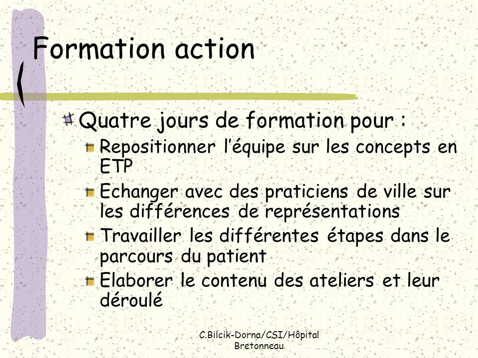 C.Bilcik-Dorna/CSI/Hôpital Bretonneau Formation action Quatre jours de formation pour : Repositionner léquipe sur les concepts en ETP Echanger avec de