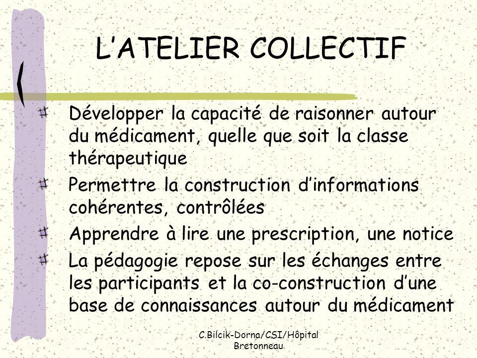 C.Bilcik-Dorna/CSI/Hôpital Bretonneau Contenu type dun atelier Quest-ce quun médicament.