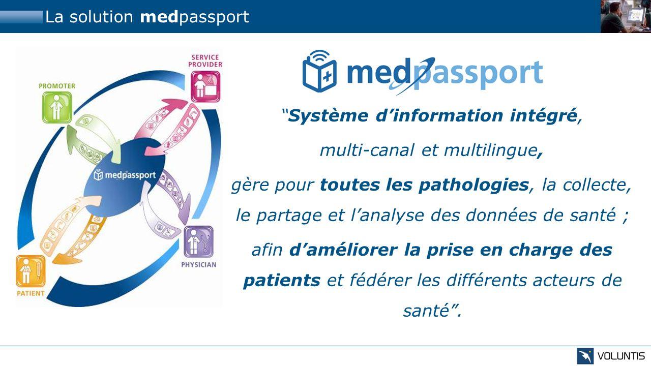 La solution medpassport Système dinformation intégré, multi-canal et multilingue, gère pour toutes les pathologies, la collecte, le partage et lanalys