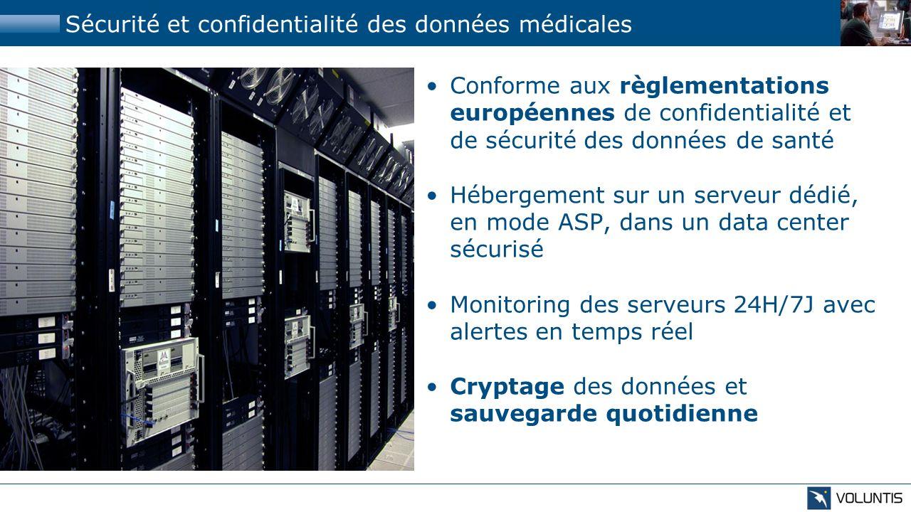 Sécurité et confidentialité des données médicales Conforme aux règlementations européennes de confidentialité et de sécurité des données de santé Hébe
