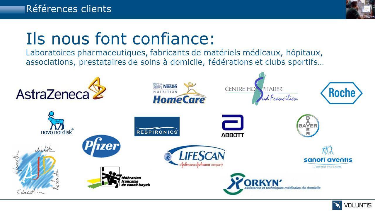 Références clients Ils nous font confiance: Laboratoires pharmaceutiques, fabricants de matériels médicaux, hôpitaux, associations, prestataires de so
