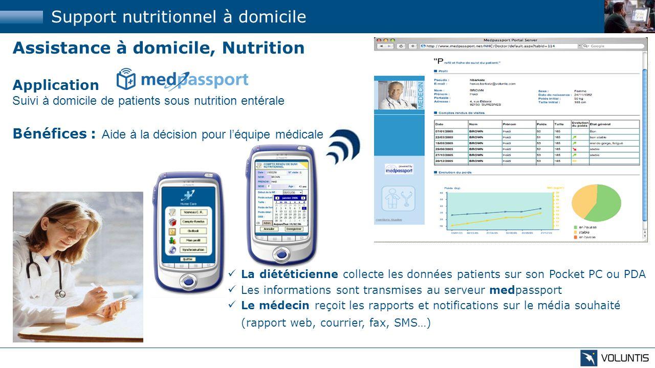 Assistance à domicile, Nutrition Application Suivi à domicile de patients sous nutrition entérale Bénéfices : Aide à la décision pour léquipe médicale