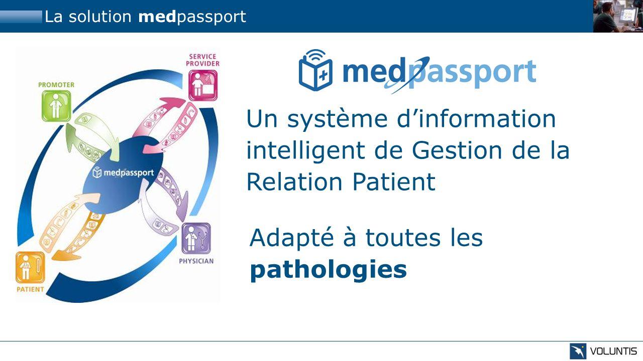 La solution medpassport Adapté à toutes les pathologies Un système dinformation intelligent de Gestion de la Relation Patient