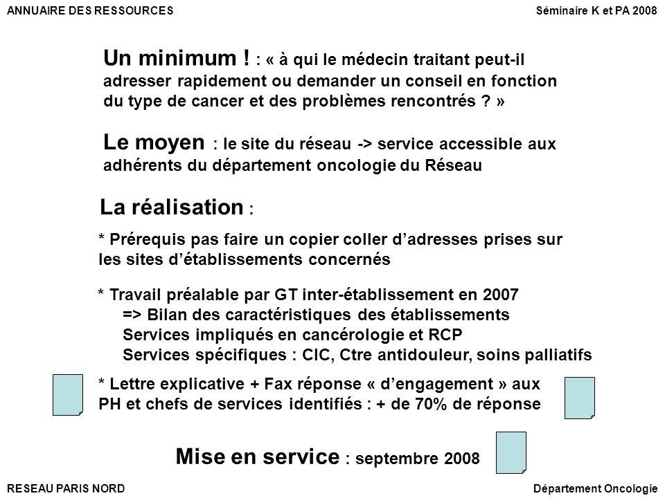 RESEAU PARIS NORD ANNUAIRE DES RESSOURCES Département Oncologie * Travail préalable par GT inter-établissement en 2007 => Bilan des caractéristiques d